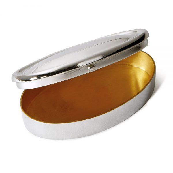 Silver Heavy Oval Pill Box open