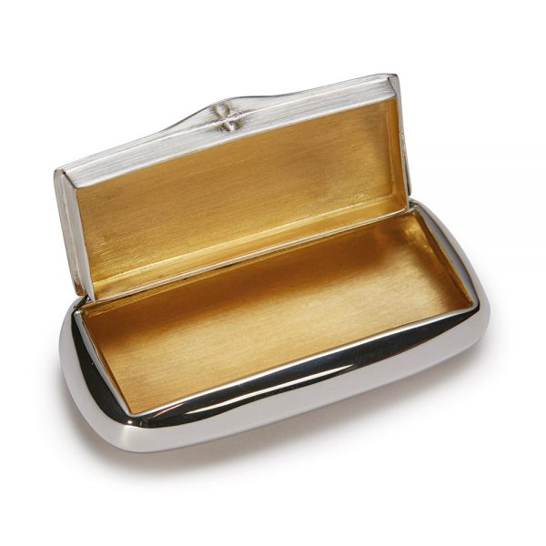 Silver Oblong Pill Box open