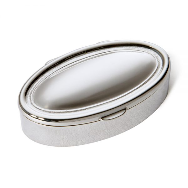 Silver Heavy Oval Pill Box