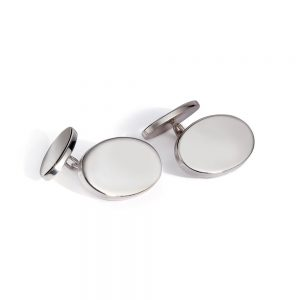 Silver Oval Chain Cufflinks
