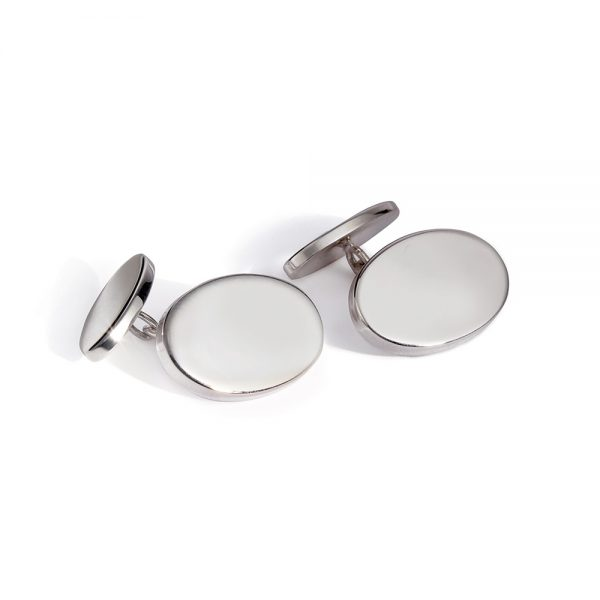 Silver Oval Chain Cufflinks