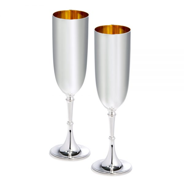 Silver Champagne Flutes D301