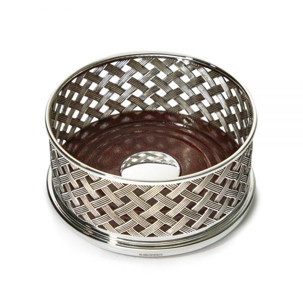 Silver Basket Weave Coaster D107